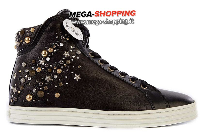 Hogan scarpe sneakers alte donna in pelle nuove rebel HXW1820L9304QRB999