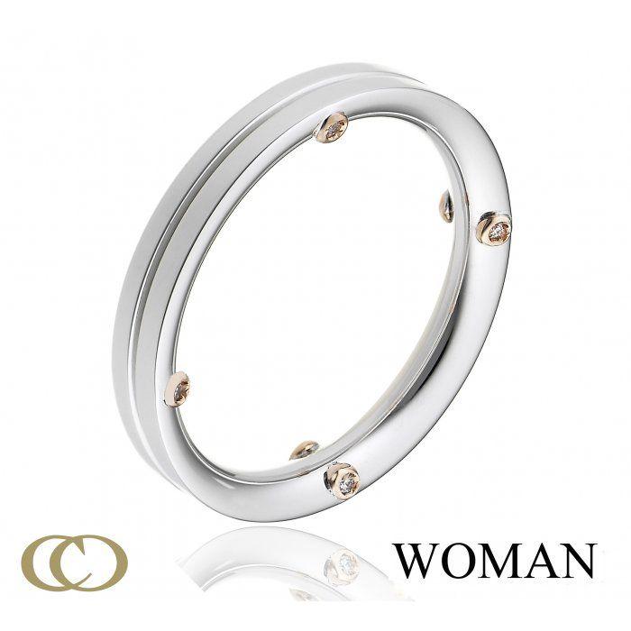 Fede nuziale oro bianco e diamanti Chimento 1A08455B15140