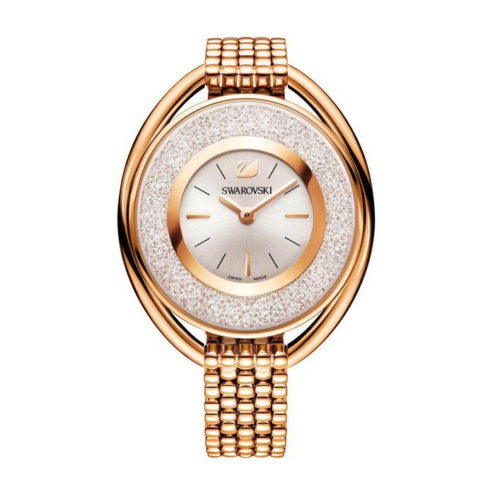 Orologio Crystalline Oval, Bracciale di metallo, bianco, tono oro rosa