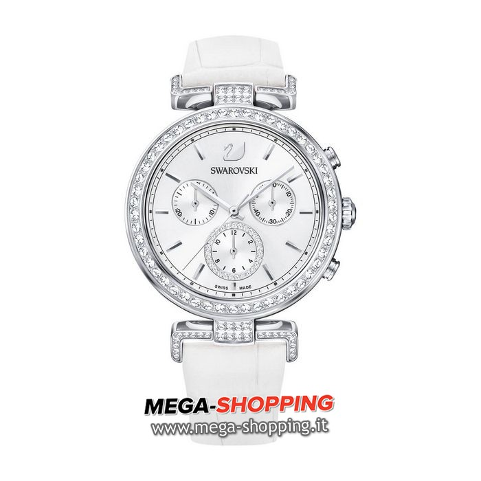 swarovski orologio era journey, cinturino in pelle, bianco, tono argentato 5295346