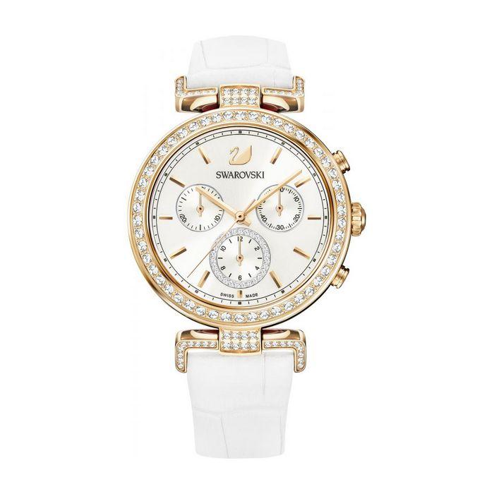 Orologio Era Journey, Cinturino in pelle, bianco, tono oro rosa