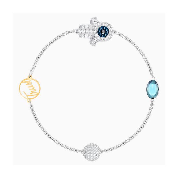 Swarovski Remix Collection Hamsa Hand Symbol Strand, azzurro, placcatura mista