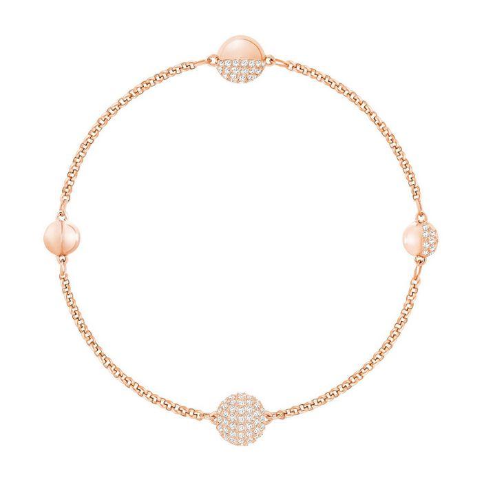 Swarovski Remix Collection Round Shape Strand, bianco, placcato oro rosa