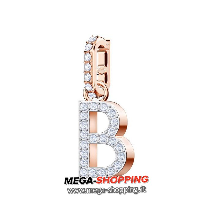 swarovski remix collection charm b, bianco, placcato oro rosa 5437624