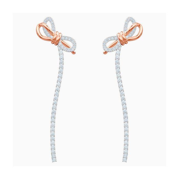 Orecchini Lifelong Bow, bianco, placcatura mista