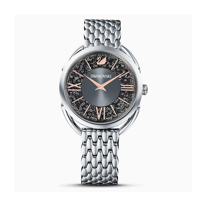 Orologio Crystalline Glam, Bracciale di metallo, grigio, tono argentato